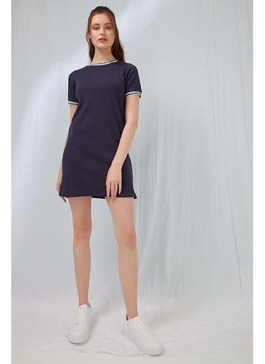 Modaset Şeritli Kısa Kollu Elbise Lacivert Lacivert